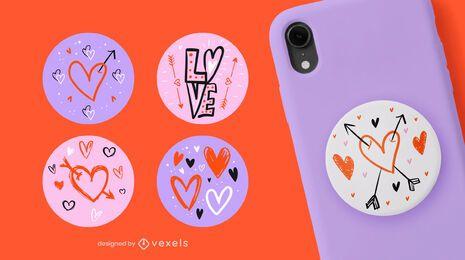 Doodle corações popsocket set