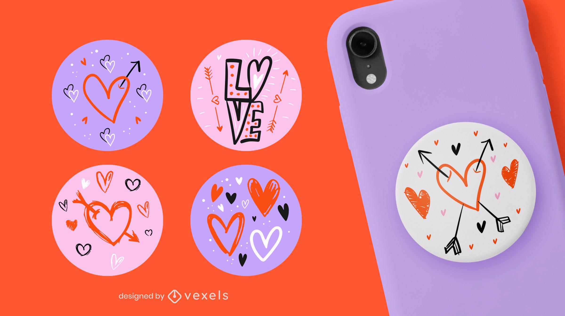 Doodle hearts popsocket set