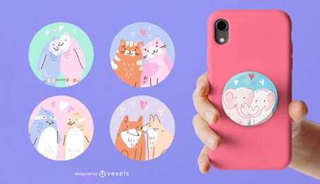 Animal couples popsocket set