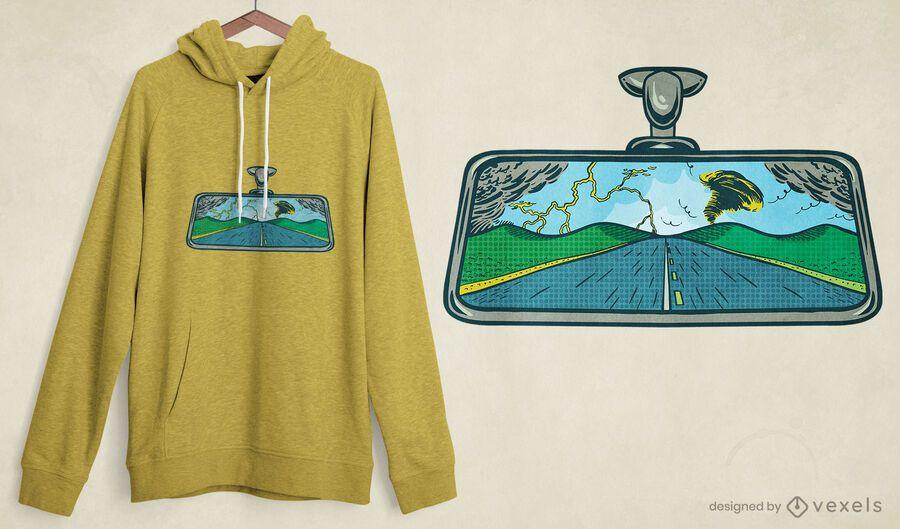 Diseño de camiseta de carretera con espejo retrovisor