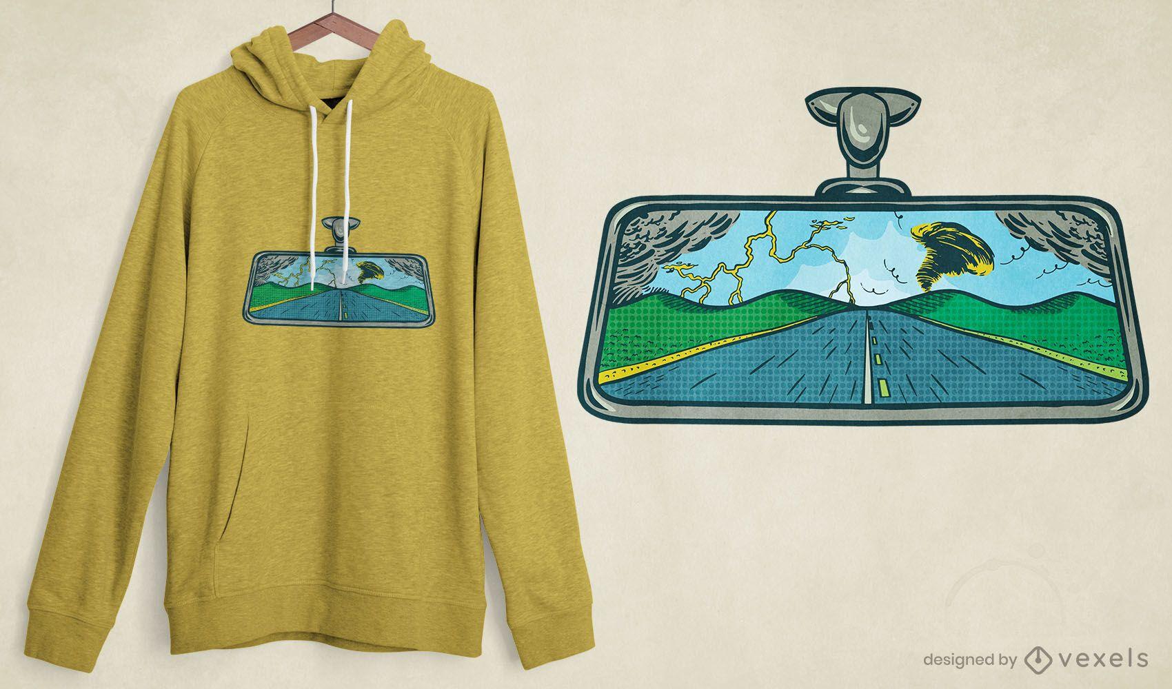 Rear-view mirror road t-shirt design