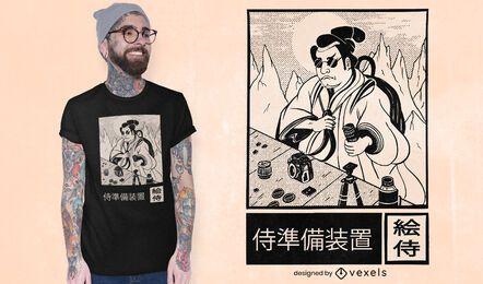 Diseño de camiseta de fotógrafo japonés.