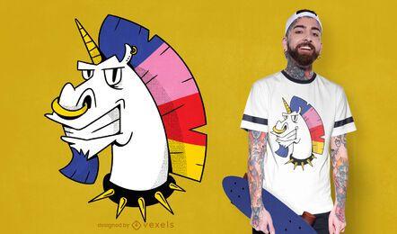 Diseño de camiseta unicornio punk