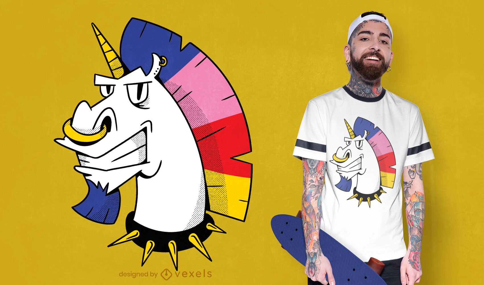 Unicorn punk t-shirt design