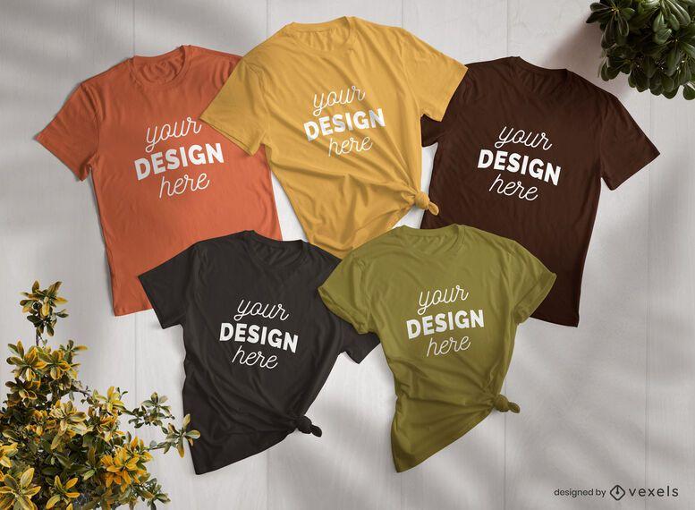Conjunto de composición de maquetas de camisetas.