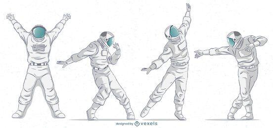 Astronaut stellt Zeichensatz auf
