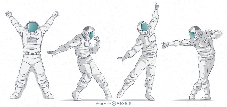 Astronaut poses character set