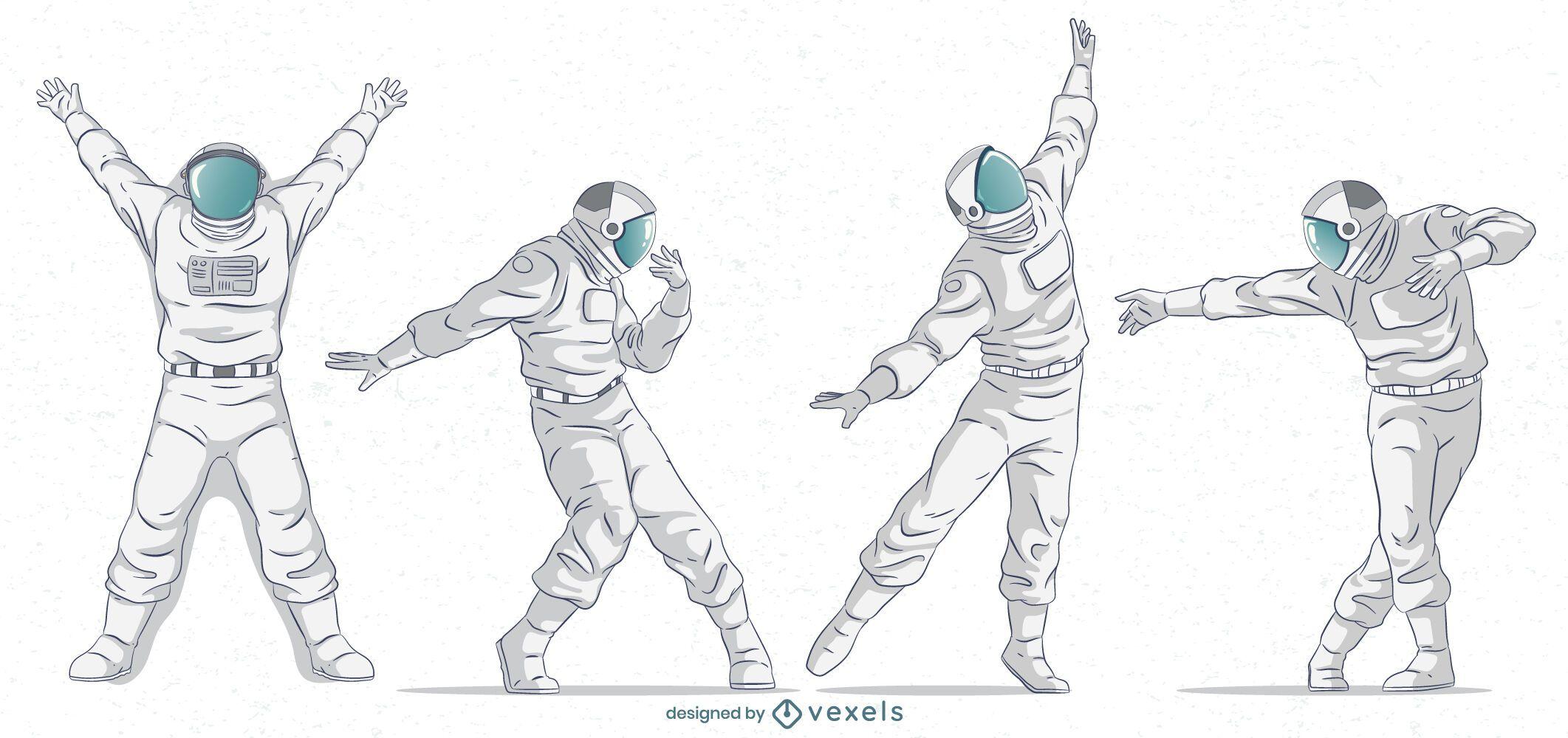 Astronauta posa conjunto de caracteres