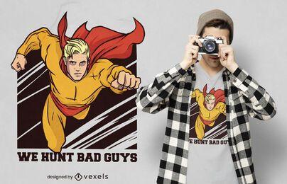 Diseño de camiseta de superhéroe volador.