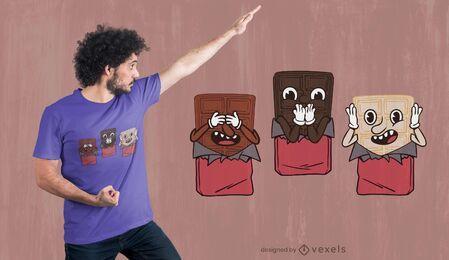 Diseño de camiseta de tres sabios chocolates.