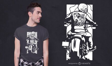 Biker skeleton t-shirt design