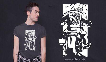 Desenho de camiseta com esqueleto de motociclista