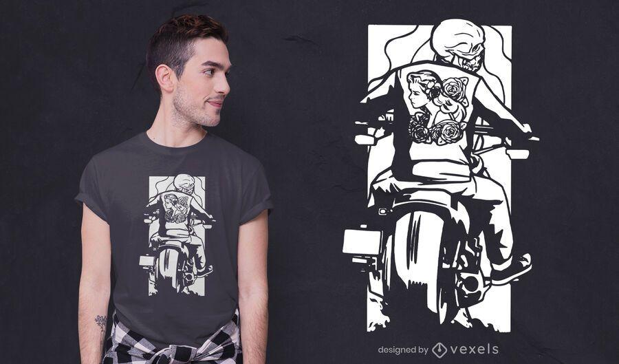 Biker skeleton t-shirt design