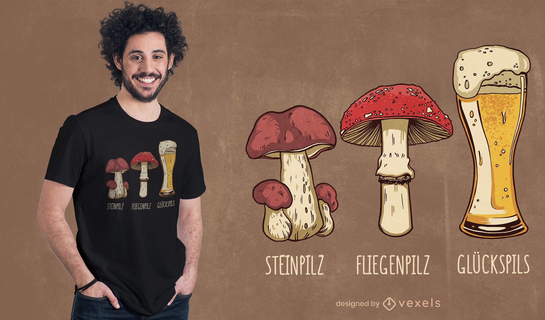Design de camiseta com piada de cogumelo alemão