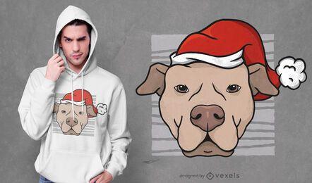 Diseño de camiseta de pitbull navideño
