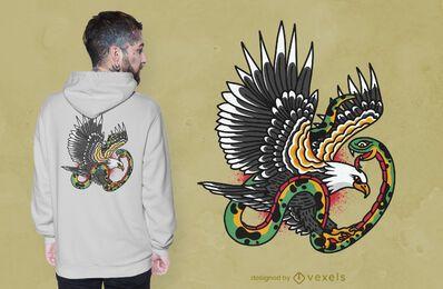 Diseño de camiseta de tatuaje de serpiente águila