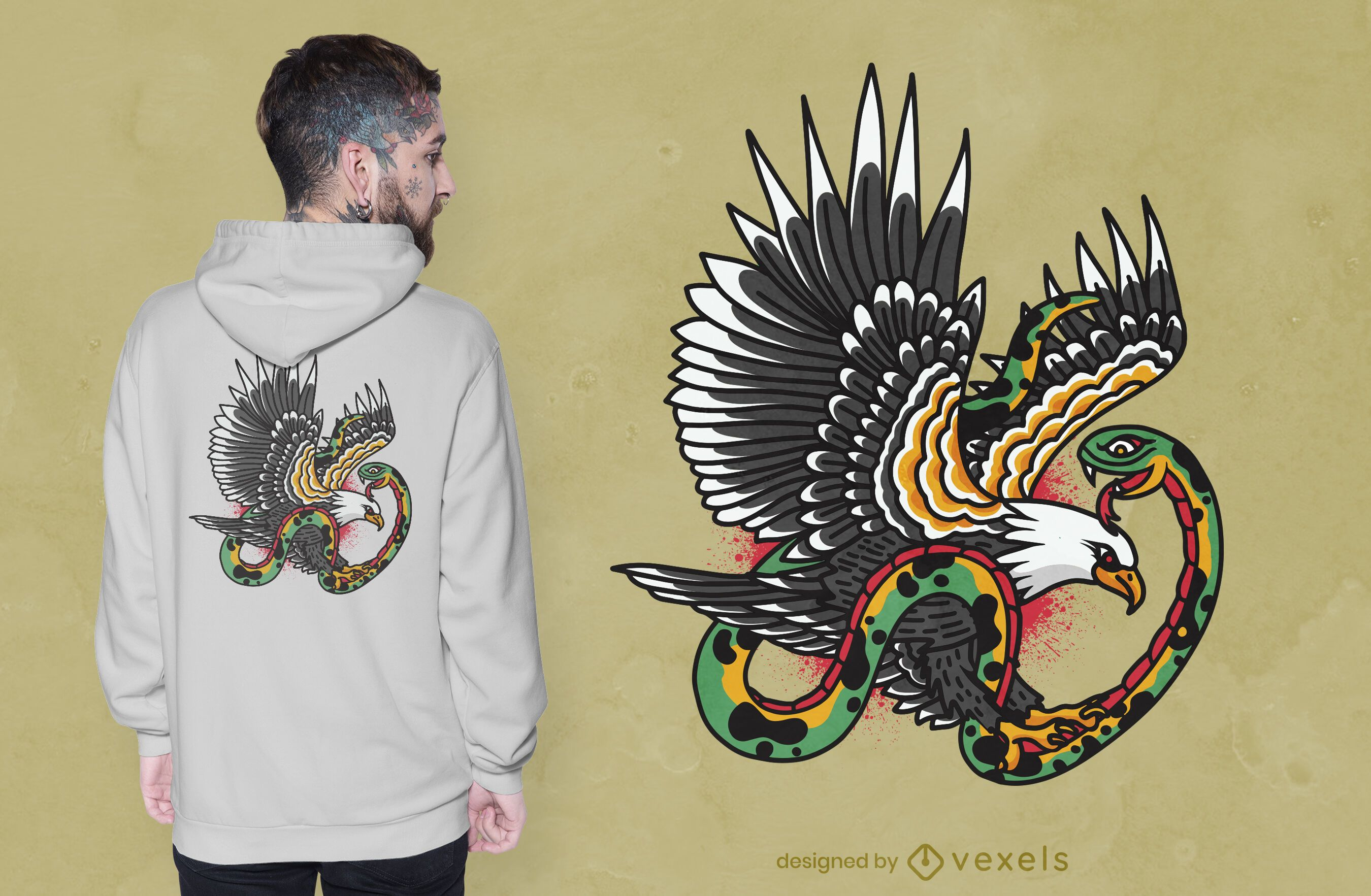 Eagle snake tattoo t-shirt design