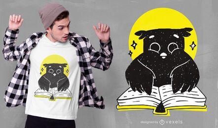 Diseño de camiseta de lectura de búho.