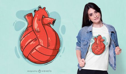 Design de camiseta com coração de voleibol