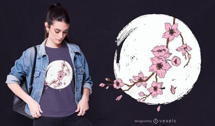 Design de t-shirt da lua da flor de cerejeira