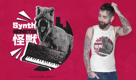 Diseño de camiseta Synth Monster