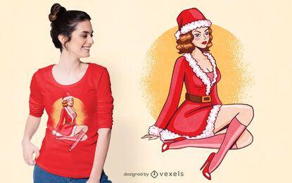 Pin up com design de t-shirt de Natal