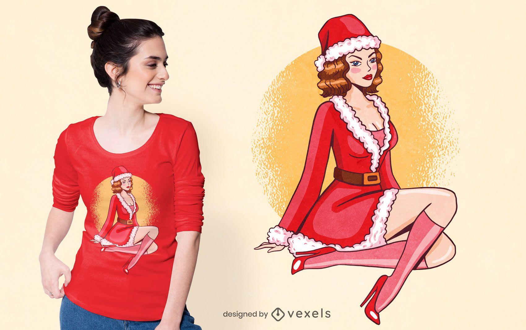 Pin up diseño de camiseta de niña de navidad