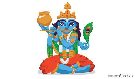 Diseño de ilustración de dios Krishna