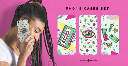Retro memphis phone cases set