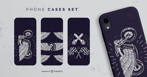Vintage motorcycle phone case set