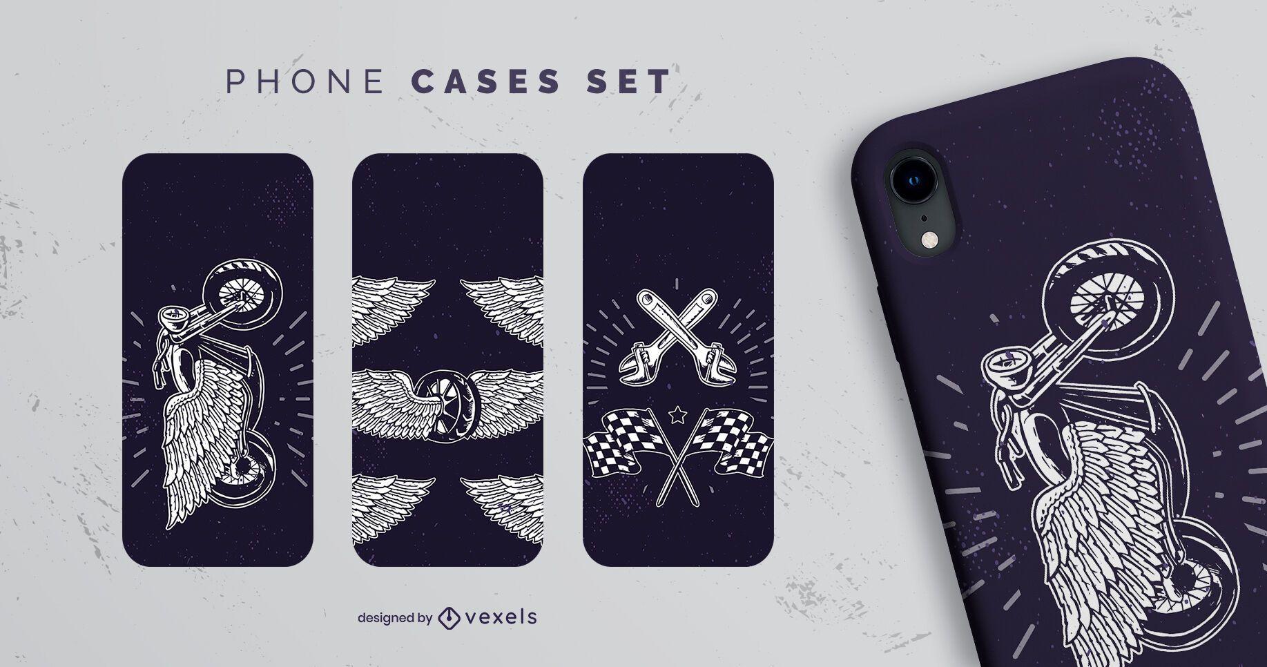 Vintage motorcycle phone case set