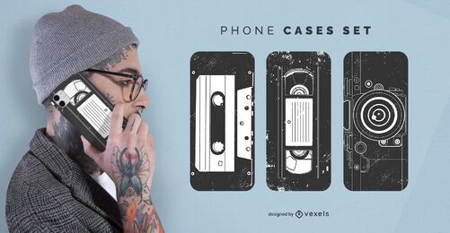 Vintage cassette phone case set
