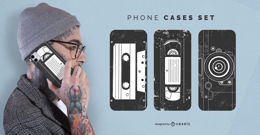 Vintage cassette phone case set