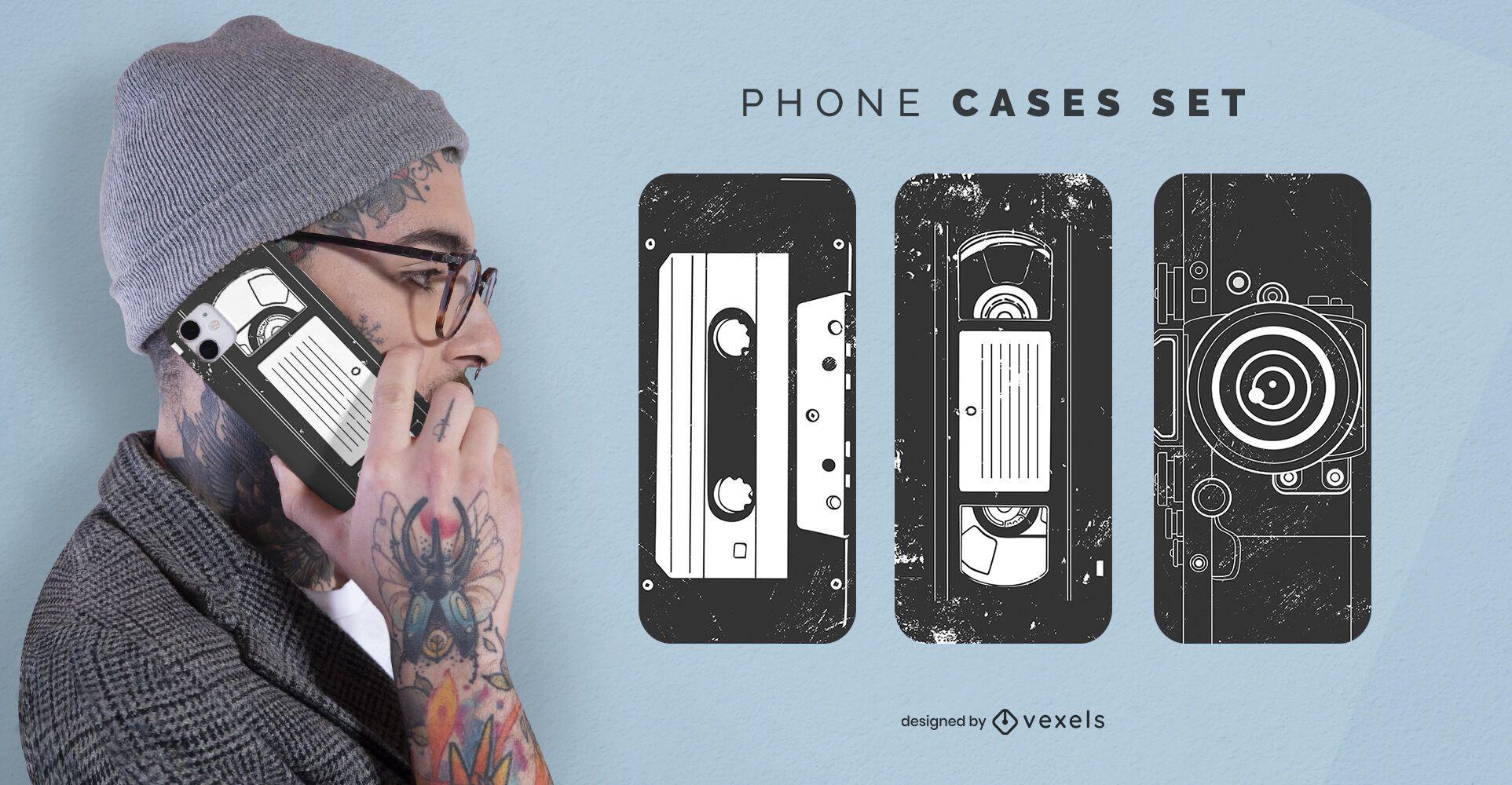 Conjunto de capa de celular vintage