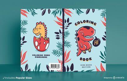 Diseño de portada de libro para colorear Dino