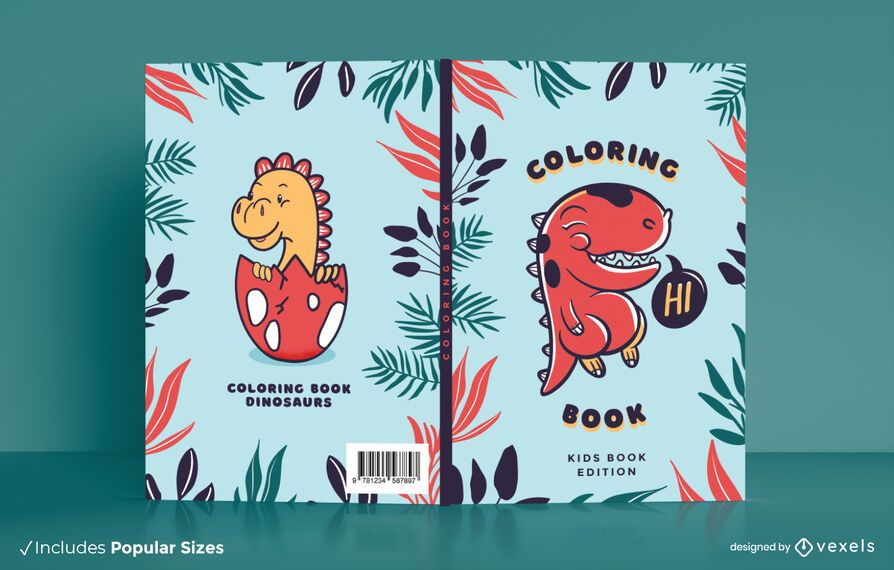 Dino coloring book cover design