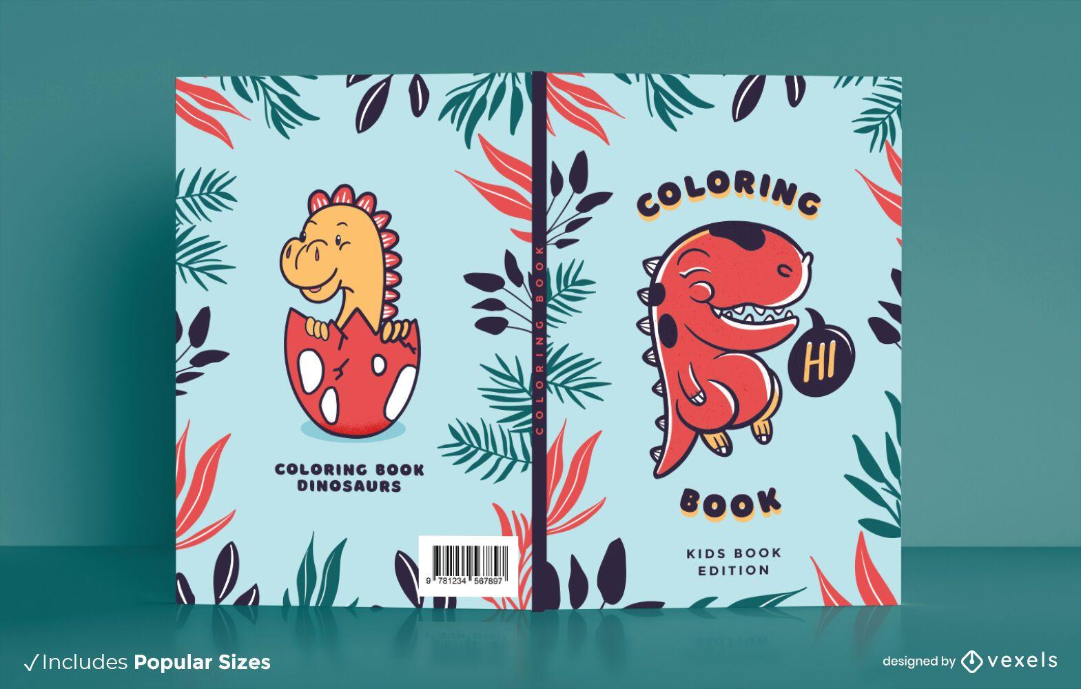 Dise?o de portada de libro para colorear Dino