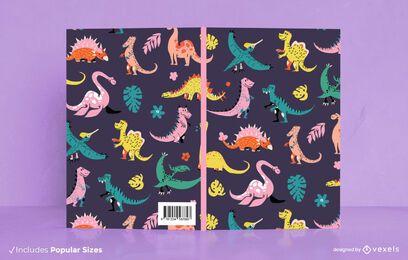 Design de capa de livro com padrão de dinossauro