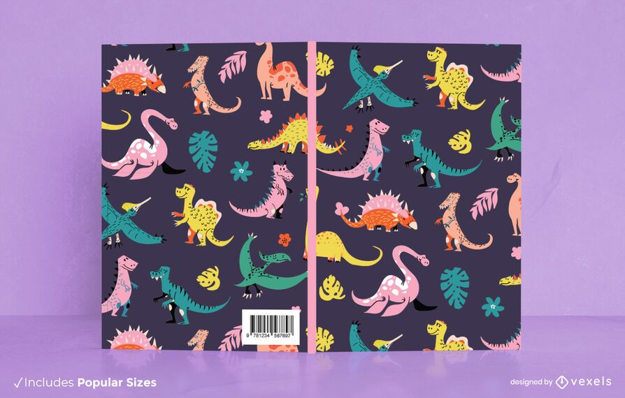 Diseño de portada de libro de patrón de dinosaurio