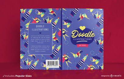 Doodle Illustrationen Buchcover Design
