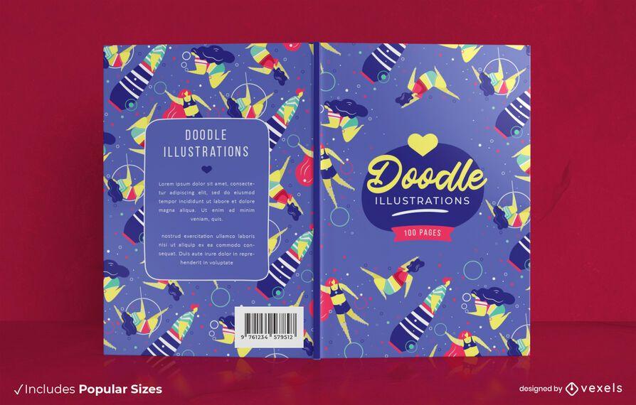 Diseño de portada de libro de ilustraciones de Doodle