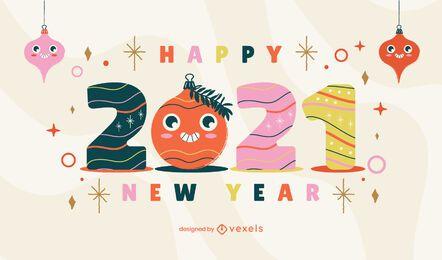 Desenho de ilustração de ano novo de 2021