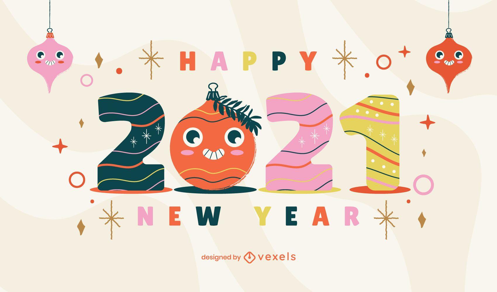 Diseño de ilustración de año nuevo 2021