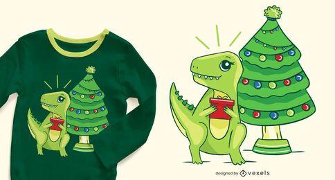 Diseño de camiseta navideña t-rex