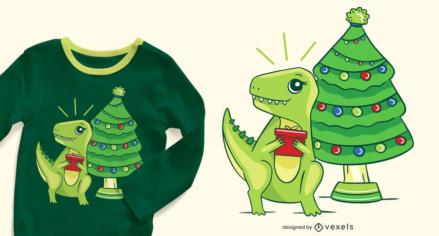 Design de camisetas t-rex de Natal