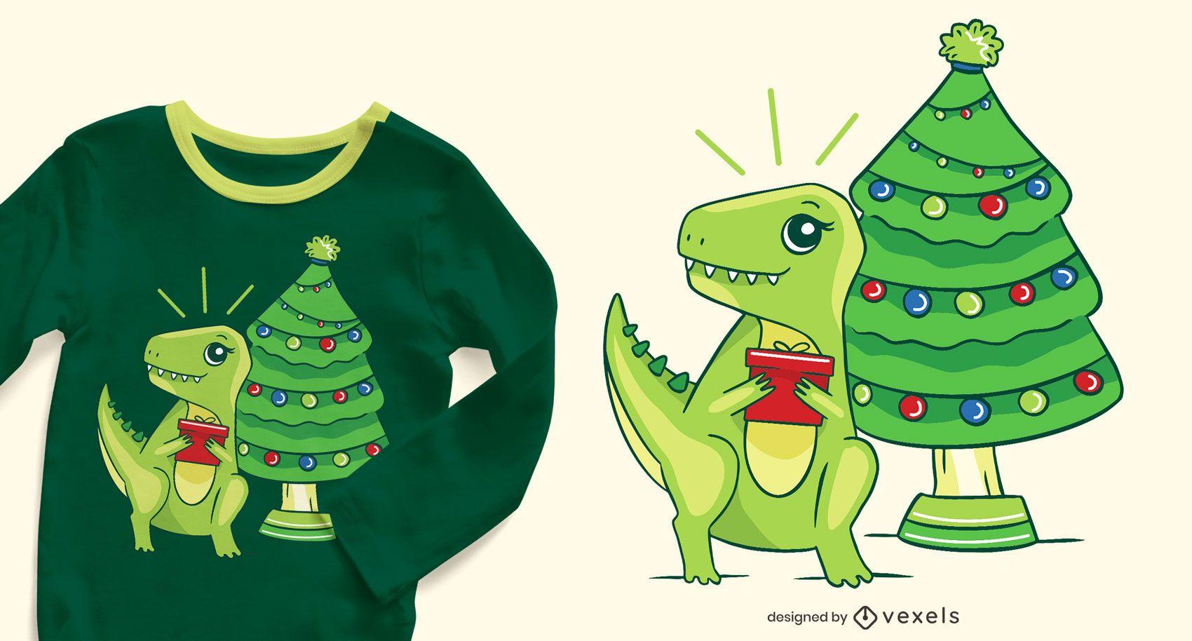 Dise?o de camiseta navide?a t-rex