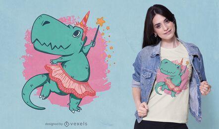 Diseño de camiseta de bailarina T-rex