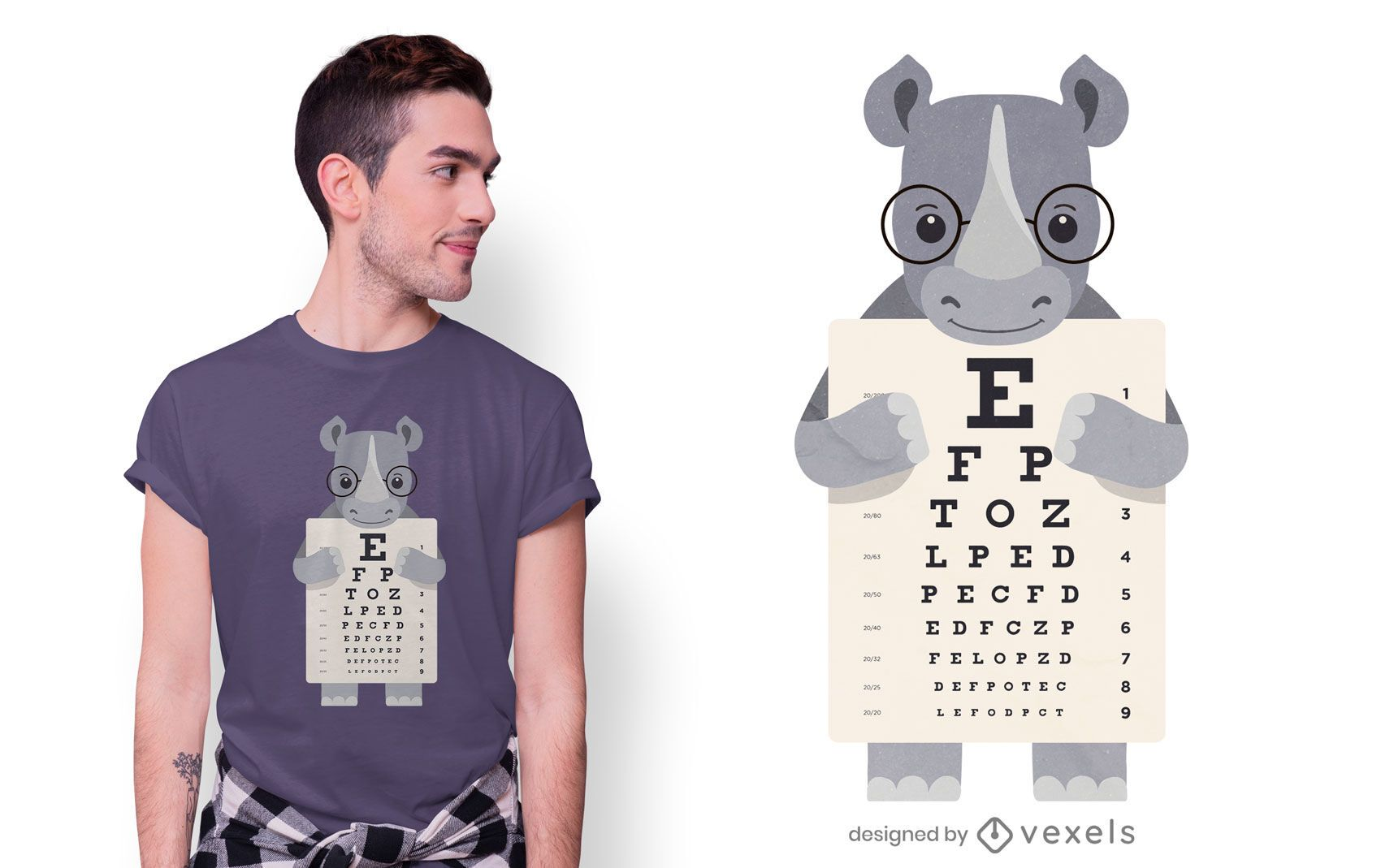 Design de camiseta com gráfico de olho Rhino