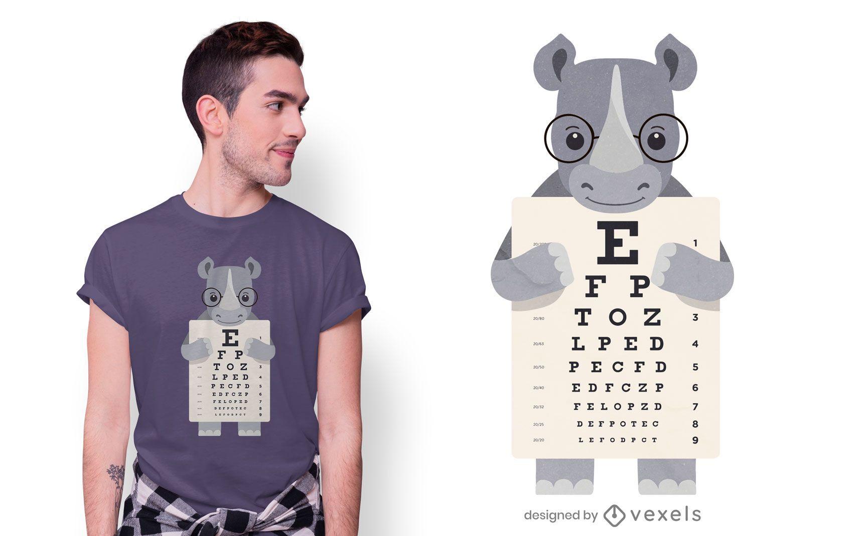 Rhino eye chart t-shirt design