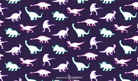 Desenho de padrão de néon dinossauros